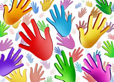 Volunteer Hands. Community concept as a symbol of a group of colorful human hands raised in the air representing ethnic cultural diversity in friendship working stock illustration