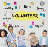 Volunteer Help Donation Hope Kindness Concept. Volunteer Children Help Donation Hope Kindness Concept royalty free stock photo