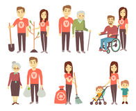 Volunteer helping to disabled people vector characters set for volunteering concept. Volunteer help and assistance disability people illustration royalty free illustration