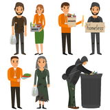 Volunteer and homeless. Volunteers design concept set with people helping homeless. Vector flat cartoon illustration stock illustration