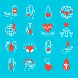 Volunteer icons vector set. Royalty Free Stock Image