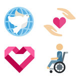 Volunteer icons charity donation vector set humanitarian awareness hand hope aid support. And assistance care service human symbols. Trust social rescue helping Stock Photo