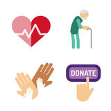 Volunteer icons charity donation vector set humanitarian awareness hand hope aid support people Stock Images