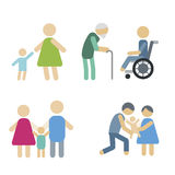 Volunteer icons charity donation vector set humanitarian awareness hand hope aid support people Stock Photo