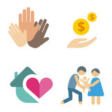Volunteer icons charity donation vector set humanitarian awareness hand hope aid support people Royalty Free Stock Images
