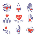 Volunteer icons vector set. Volunteer icons charity donation vector set. Humanitarian awareness hand hope aid support and assistance care service human symbols Royalty Free Stock Photo