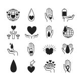 Volunteer icons vector set. Royalty Free Stock Images