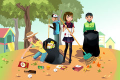 Volunteer kids. A vector illustration of kids volunteering by cleaning up the park Stock Image