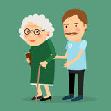 Volunteer man caring for elderly woman. And helping her to walk with her cane. Vector illustration Royalty Free Stock Image