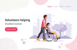 Free Volunteer Man Walking In Park With Girl Disabled In Wheelchair. Royalty Free Stock Photography - 163542837