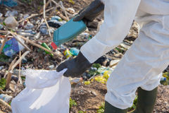 Volunteer man in white protective clothing collects garbage Stock Photos