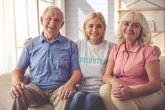 Volunteer and old people Royalty Free Stock Photos