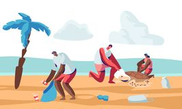 Volunteer People Cleaning Garbage on Beach Area and Saving Tortures.Volunteering, Men and Women Collecting Trash on Coastal Line. Or Seaside. Charity Social vector illustration