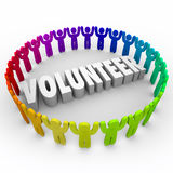 Volunteer People in Ring Around 3d Word Donate Time Stock Photos