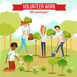 Volunteer Planting Trees In The Park. Gardening and planting seedlings in the park by volunteer boys and girls group flat vector illustration royalty free illustration