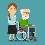Volunteer pushing wheelchair with disabled old man. Helping elderly and sick people. Vector illustration vector illustration