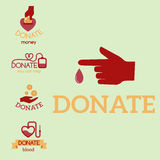 Volunteer red icons charity donation vector set humanitarian awareness hand hope aid support symbols. Royalty Free Stock Photos