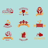 Volunteer red icons charity donation vector set humanitarian awareness hand hope aid support symbols. Volunteer red icons charity donation vector set Royalty Free Stock Photography