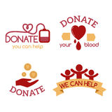 Volunteer red icons charity donation vector set humanitarian awareness hand hope aid support symbols. vector illustration