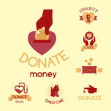 Volunteer red icons charity donation vector set humanitarian awareness hand hope aid support symbols. Volunteer red icons charity donation vector set Stock Photography