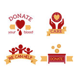 Volunteer red icons charity donation vector set humanitarian awareness hand hope aid support symbols. Volunteer red icons charity donation vector set Royalty Free Stock Image