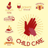 Volunteer red icons charity donation vector set humanitarian awareness hand hope aid support symbols. Royalty Free Stock Image