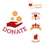 Volunteer red icons charity donation vector set humanitarian awareness hand hope aid support symbols. Stock Images