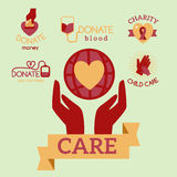 Volunteer red icons charity donation vector set humanitarian awareness hand hope aid support symbols. Stock Photo