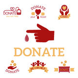 Volunteer red icons charity donation vector set humanitarian awareness hand hope aid support symbols. Volunteer red icons charity donation vector set Stock Images