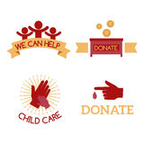 Volunteer red icons charity donation vector set humanitarian awareness hand hope aid support symbols. royalty free illustration