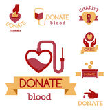 Volunteer red icons charity donation vector set humanitarian awareness hand hope aid support symbols. Volunteer red icons charity donation vector set Stock Image