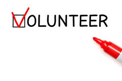 Volunteer Red Marker Check Mark Stock Photo