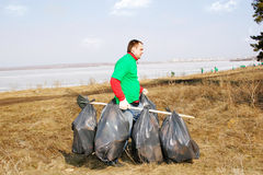 Volunteer removes debris Royalty Free Stock Images