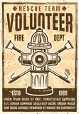 Volunteer rescue team promotion vintage poster. With fire hydrant and two crossed hooks. Vector illustration with grunge textures and headline text on separate Stock Photo