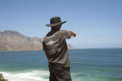 Volunteer shark spotter looking out to sea Stock Photography