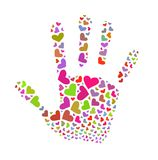 Volunteer sign. Colorful hearts in the shape of palm Royalty Free Stock Photo