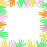 Volunteer sign. Colorful hands frame around a blank center Stock Image