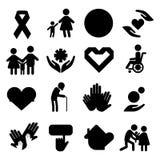 Volunteer silhouettecharity donation vector set humanitarian awareness hand hope aid support people. Volunteer silhouette icons charity donation vector set Royalty Free Stock Image