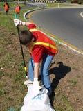 Volunteer Teen Highway Clean-up Royalty Free Stock Images