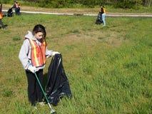 Volunteer Teen Highway Clean-up Stock Photos