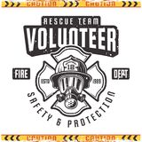 Volunteer vector retro emblem for fire department. Volunteer vector emblem for fire department in vintage style isolated on background with grunge textures vector illustration
