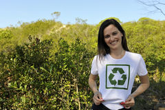 Volunteer wearing a recycling t-shirt Royalty Free Stock Photography