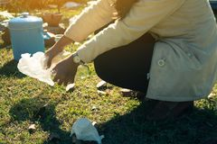 Volunteer women help garbage collection charity. Stock Image