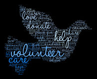 Volunteer Word Cloud. On a black background stock illustration