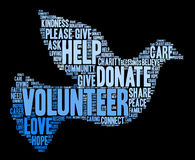 Volunteer Word Cloud. On a black background Stock Photography