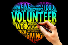 Volunteer. Word cloud, heart concept Stock Photos