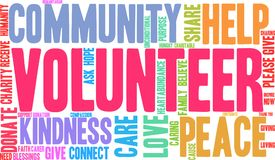 Volunteer Word Cloud. On a white background Royalty Free Stock Photography