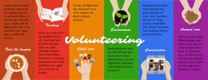 Volunteer work opportunities. Vector infographic. Volunteer opportunities. Voluntary work. Vector volunteering program poster, infographics. Recycling, children vector illustration