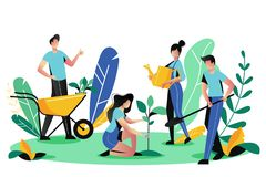 Volunteering, charity social concept. Volunteer people plant trees in park, vector illustration. Ecological lifestyle vector illustration