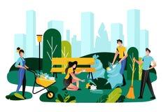 Volunteering, charity social concept. Volunteer team cleaning garbage on lawn of city park, vector illustration. Volunteering, charity social concept. Volunteer royalty free illustration